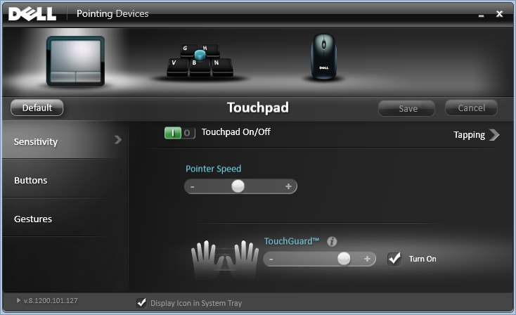 dell missing touchpad controls